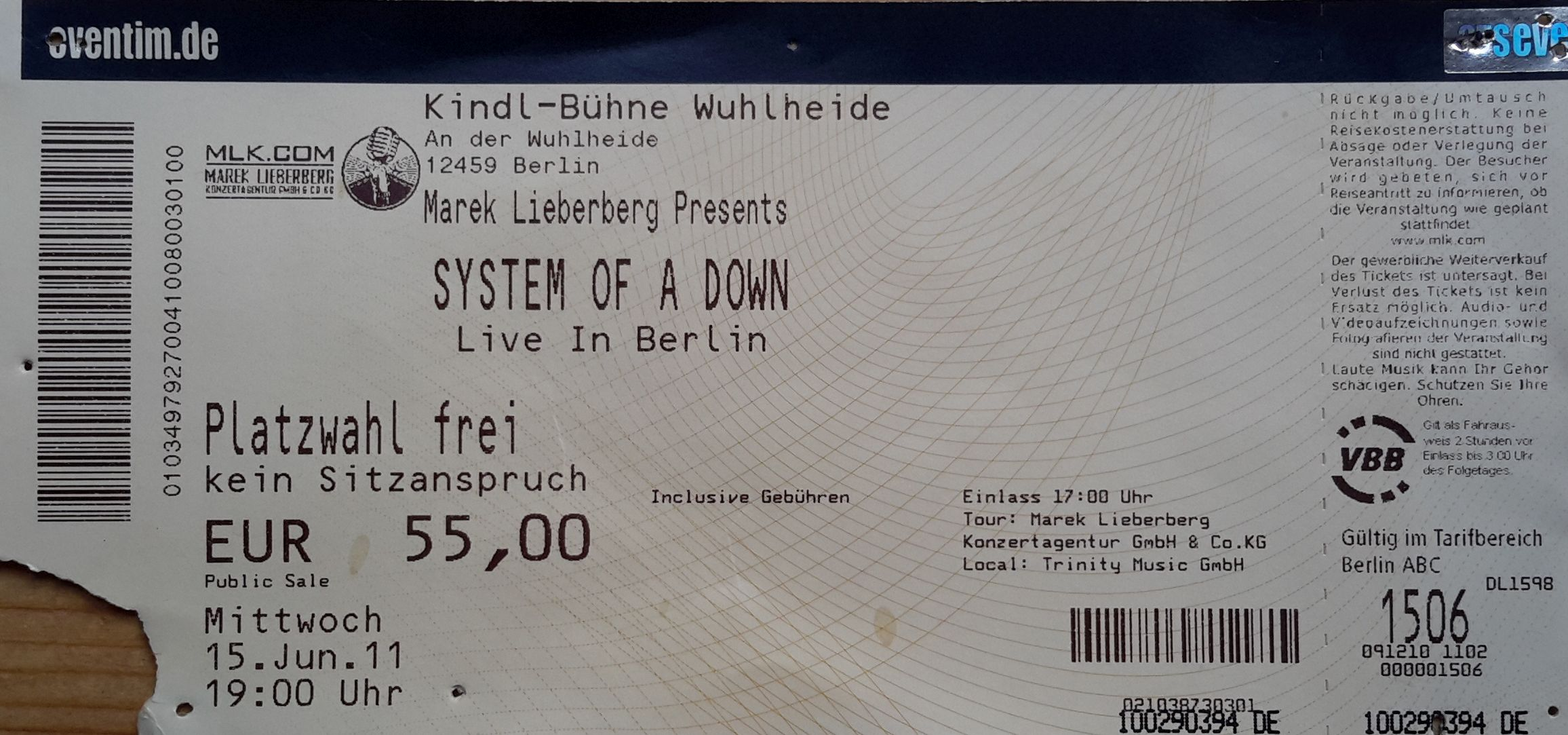 System Of A Down Berlin Tickets